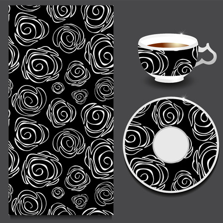 white roses: vector seamless floral russian or slavs pattern with cup and plate. stock