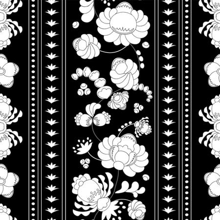 oriental vector: stock vector seamless floral oriental doodle pattern. border Illustration