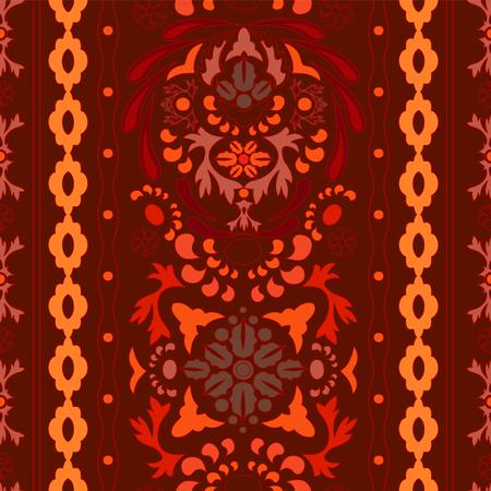 decorative design: stock vector seamless floral oriental doodle pattern. border Illustration