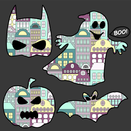 ghost town: Set of halloween icons with bat, ghost, pumpkin. vector illustration
