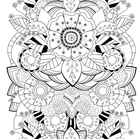 slavs: stock vector floral black and white doodle pattern. border