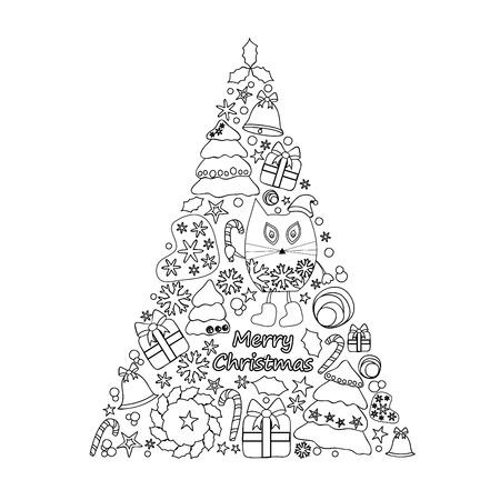 christmas present: christmas decorative isolated tree. stock vector