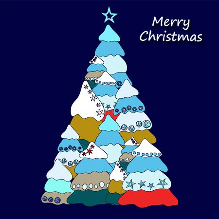 tree isolated: christmas decorative isolated tree. stock vector