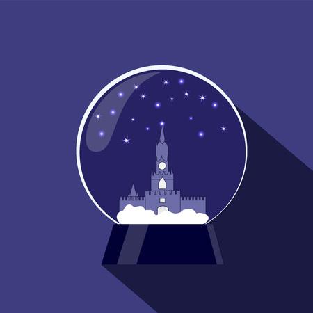 kremlin: snow globe with kremlin. christmas decoration. stock vector illustration