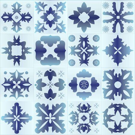 majolica: Seamless blue pattern majolica, arabic, indian, armenia. stock vector illustration Illustration