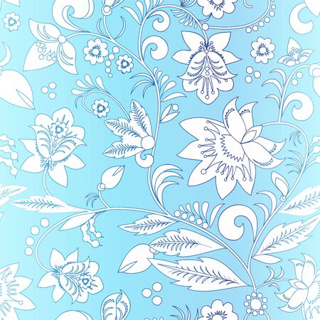 blue floral: stock vector seamlrss russia blue floral pattern. Illustration
