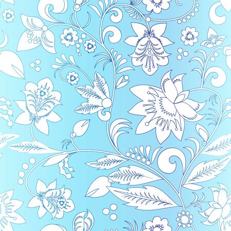 orient: stock vector orient  white flower on the blue backgorund . seamless pattern Illustration