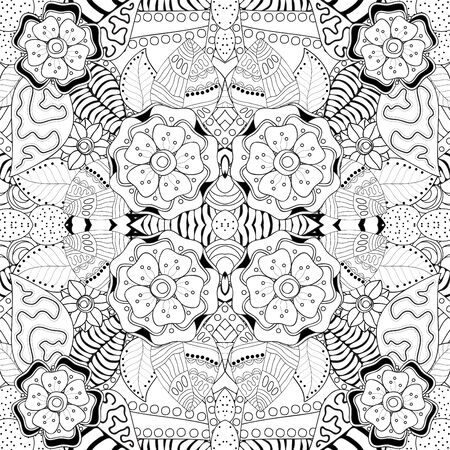 retro floral: stock vector seamless floral black and white doodle pattern.