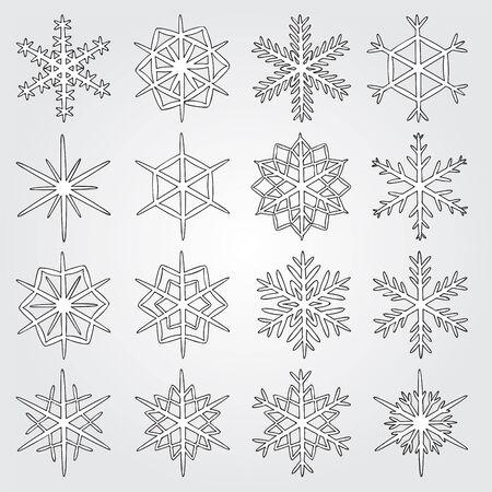 copo de nieve: conjunto de los copos de nieve de vectores. icono de los copos de nieve.