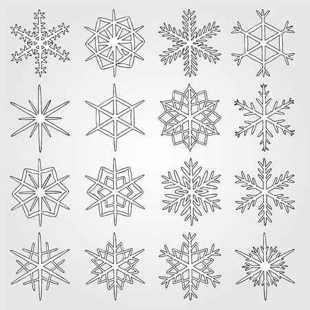 schneeflocke: set of vector snowflakes. snowflakes icon.