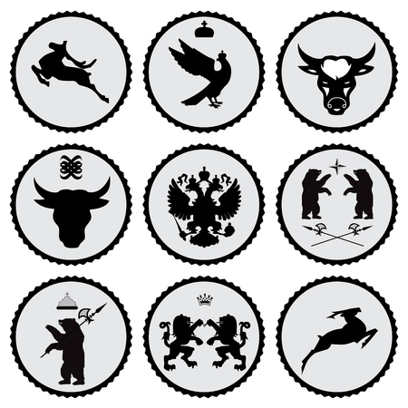 isolated illustartion: set of label with black animal silhouette
