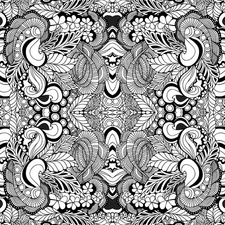 white russian: stock vector seamless floral  doodle kaleidoscope pattern.