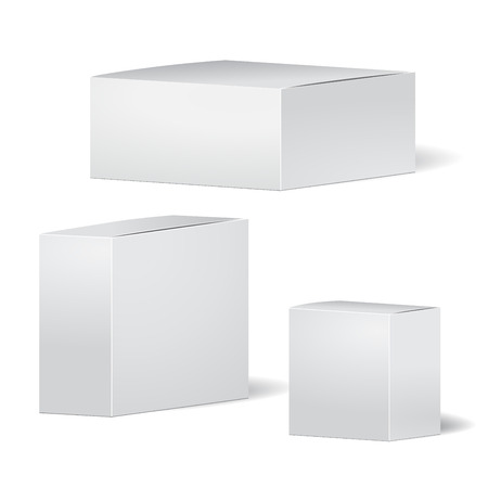 set of cardboard package isolated box on the white background.