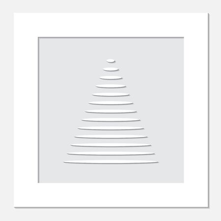 year curve: stock white frame with christmas tree on the grey background.