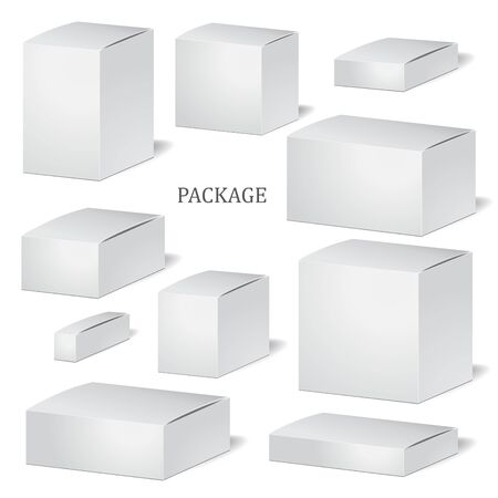 mock up: set of cadrboard package isolated box on the white background. mock up, template. stock vector