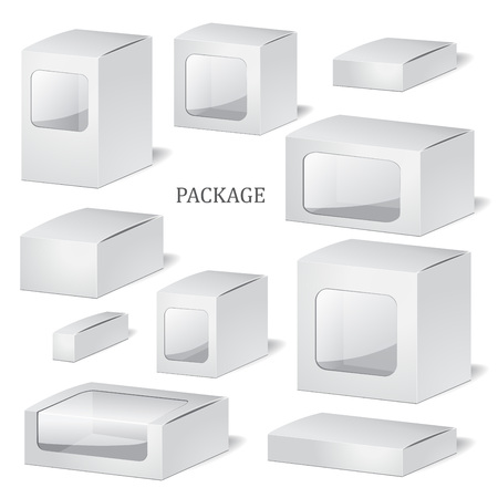 set up: set of cadrboard package isolated box on the white background. mock up, template. stock vector