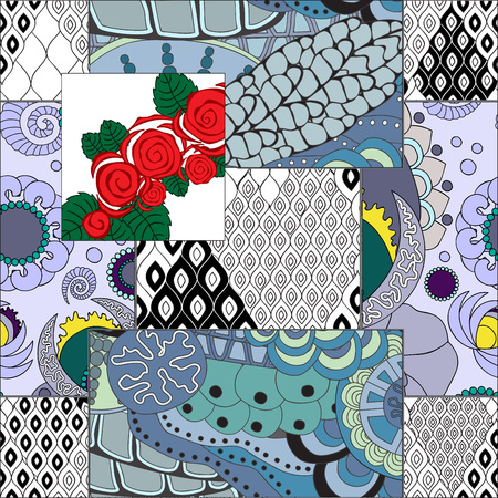 patchwork: vector seamless patchwork pattern. oriental or russian design Illustration