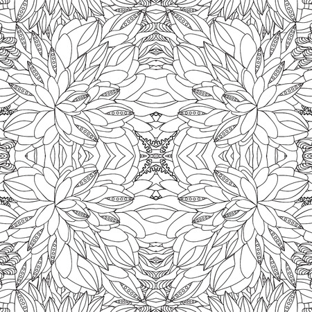 slavs: stock vector seamless doodle pattern. black and white