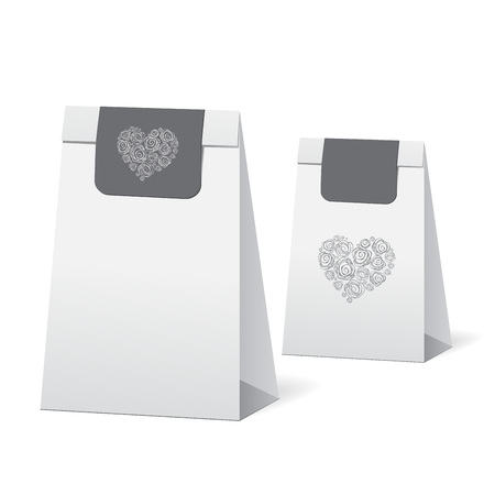 gift bags: set of stock vector isolated paper shopping bag on the white background with heart