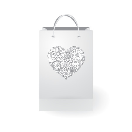 gift bags: stock vector isolated paper shopping bag on the white background with heart Illustration