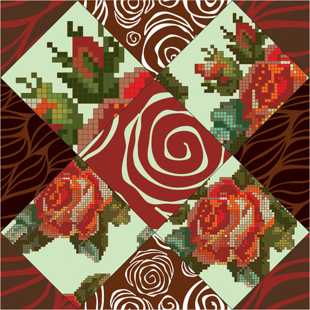 patchwork pattern: vector seamless patchwork pattern. oriental or russian design Illustration