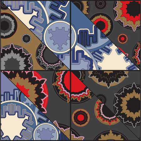 vector patchwork pattern. oriental or russian design