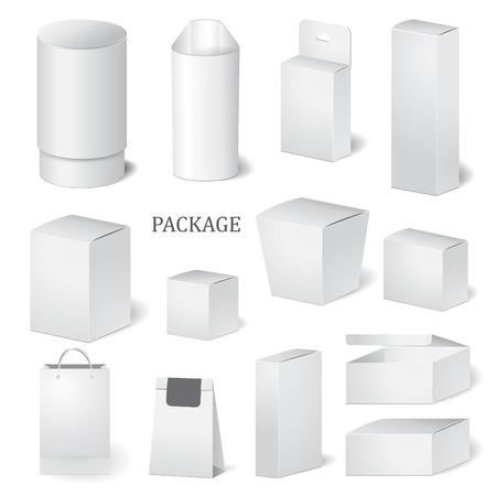 set of cardboard package isolated box. mock up, template. Vektorové ilustrace