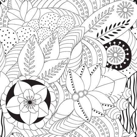 orient: stock vector seamless doodle floral black and white pattern. orient. Illustration