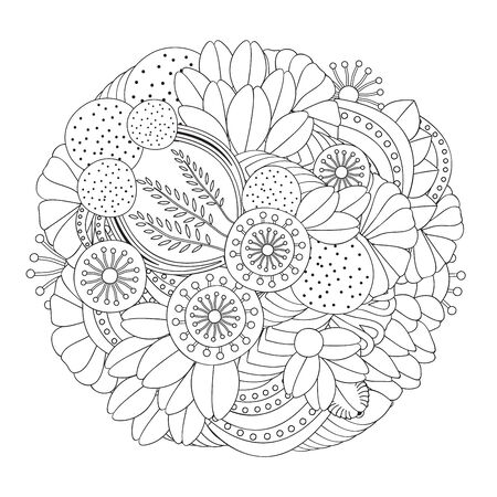 orient: stock vector doodle floral black and white pattern. orient.