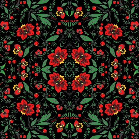 oriental vector: stock vector seamless  pattern. oriental or russian red flower
