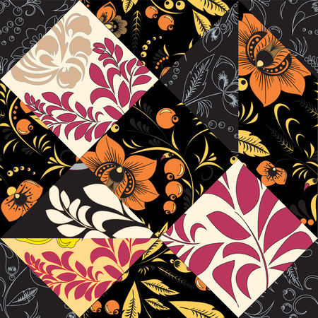 oriental vector: stock vector seamless patchwork pattern. oriental or russian floral design