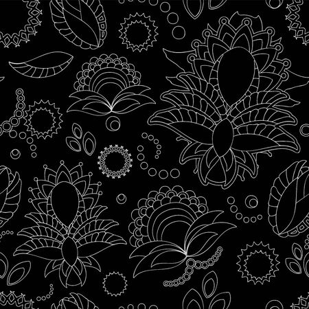 orient: stock vector seamless doodle black and white floral pattern. orient. abstract background Illustration