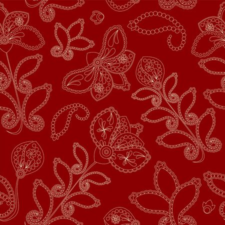 orient: stock vector seamless doodle  floral pattern. orient. abstract background