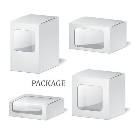Conjunto de aislados cuadro paquete cadrboard en el fondo blanco. maqueta, plantilla. vectoriales Foto de archivo - 57616277