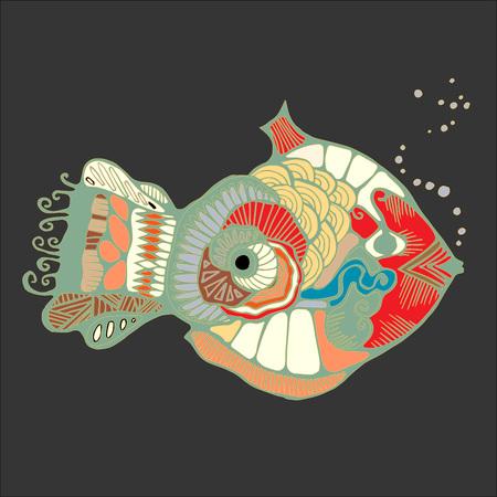 blanket fish: single isolated abstract art fish. stock vector illustration. cartoon design
