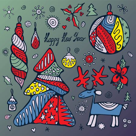 boll: stock vectorchristmas set with tree, boll, snowflakes. hand draw pattern Illustration