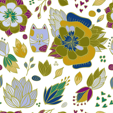 orient: stock vector abstract seamless  pattern. orient floral ornament with cat