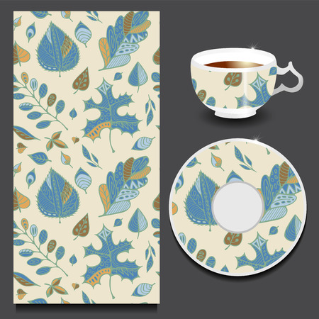 coffee leaf: tock vector cup of coffee and seamless  ornament with hand draw abstract leaf