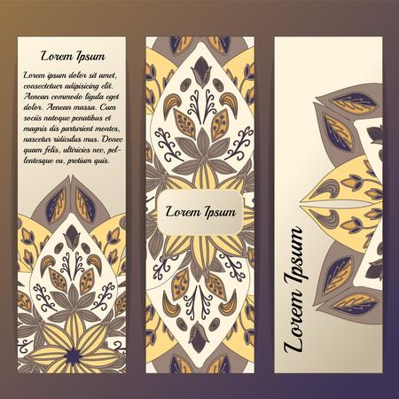 de la plantilla de vectores con Mandala floral, diseño oriental para la tarjeta, bandera, portada, el diseño. Ilustración de vector