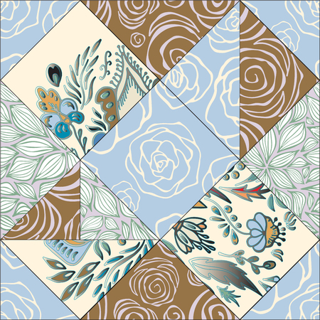orient: abstract seamless patcwork tile with floral ornament.arabic or orient pattern. vintage style