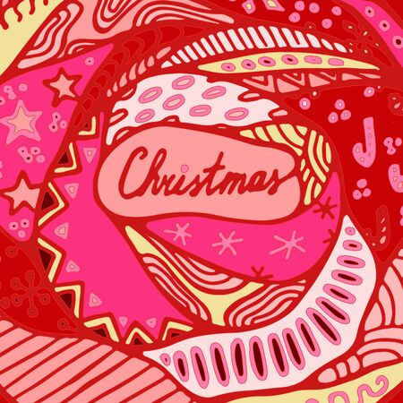 boll: stock vectorchristmas pattern with tree, boll, snowflakes. hand draw pattern