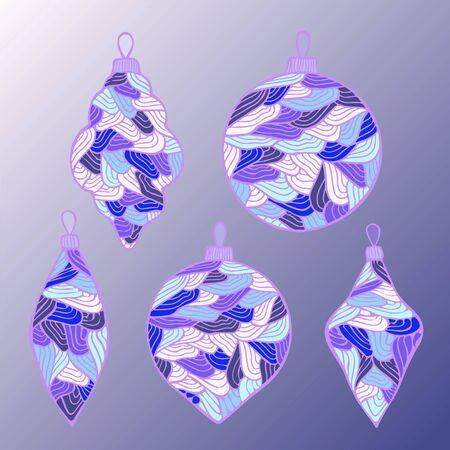 boll: stodk vector set of christmas boll. hand draw pattern