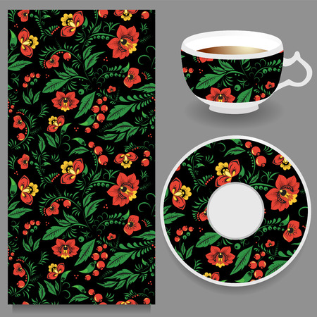 russian pattern: vector seamless orient floral pattern with cup and plate. russian pattern
