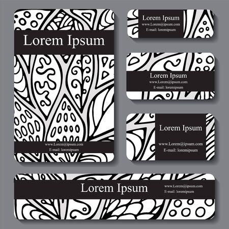 doodling: Stock vector cartoon hand draw black and white corporate identity horizontal banner with leaf and waves. background. template for card Illustration