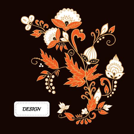 Flores Vectoriales Y El Ornamento De La Hoja Diseno Oriental O Ruso