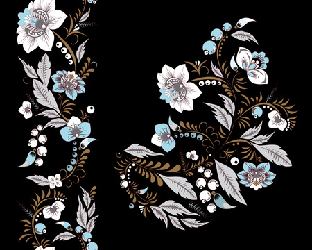 oriental vector: stock vector flowers and leaf ornament. oriental or russian pattern.necklace embroidery design and seamless border