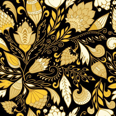 slavs: stock vector seamless flower, doodle pattern. abstract art background Illustration