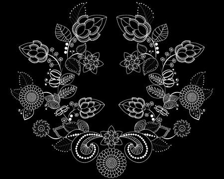 株式ベクトル花や葉の飾り。東洋やロシアの pattern.necklace 刺繍デザイン