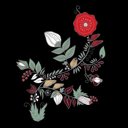 벡터 추상 손을 그리는 꽃과 파도, 낙서 꽃다발. 동양 또는 아랍어, 러시아 아트 배경입니다. 카드에 대 한 템플릿입니다. 기치 일러스트