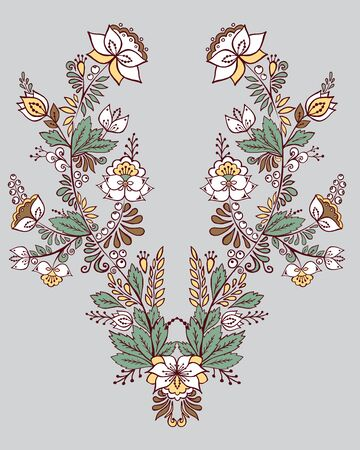 stock vector flowers and leaf ornament. oriental or russian pattern. necklace embroidery design